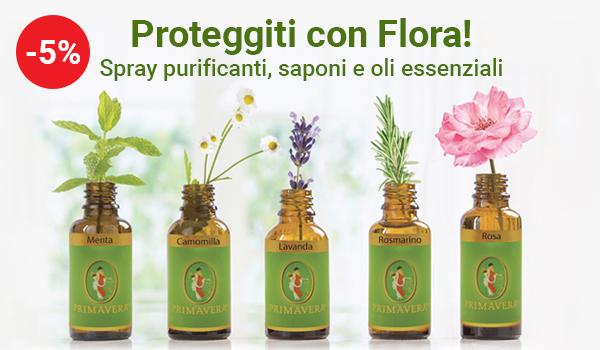 Sconto 5% - Proteggiti con Flora: spray purificanti, saponi e oli essenziali