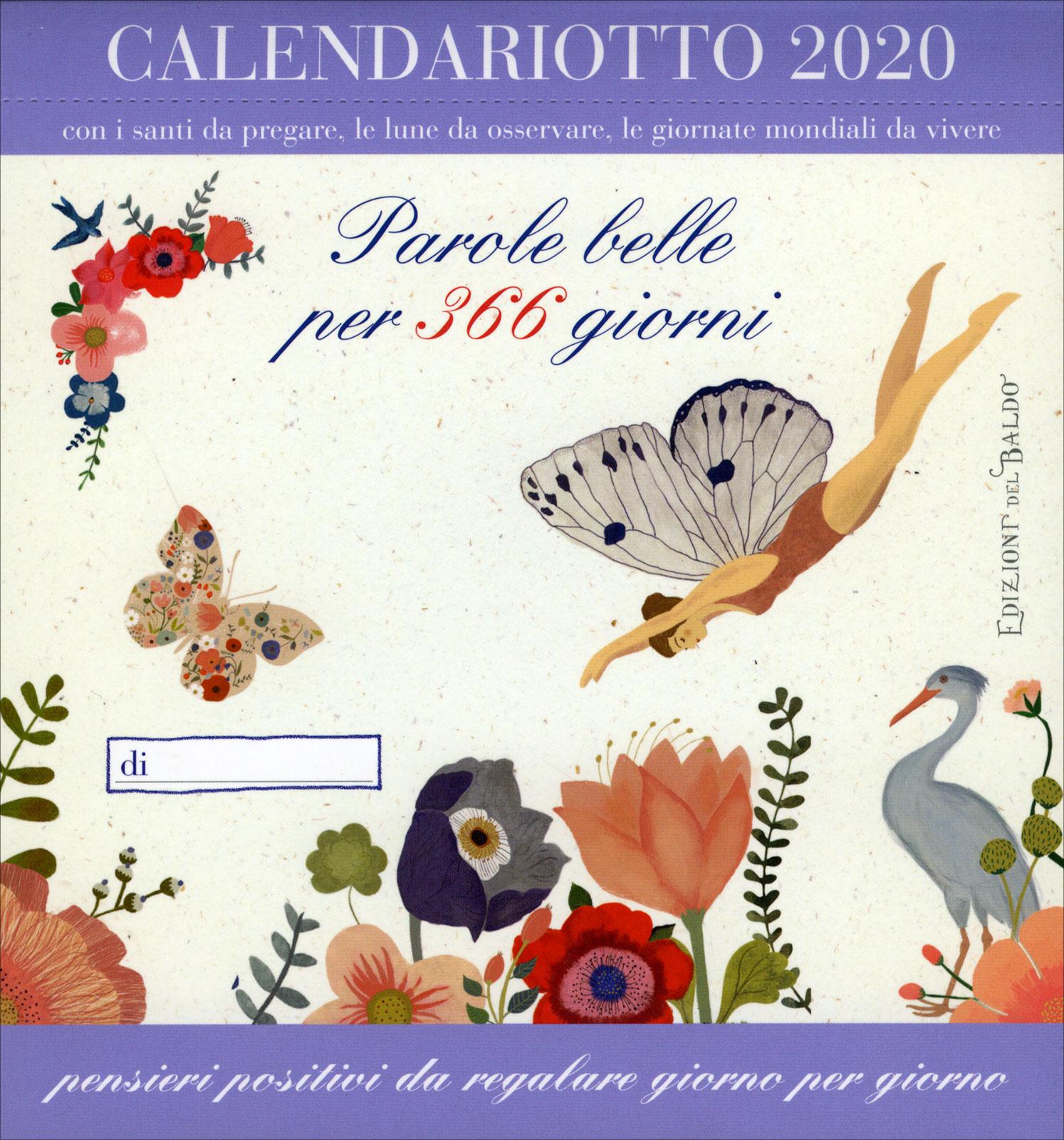 Calendario Santi Ottobre 2020.Calendario 2020 Parole Belle Per 365 Giorni